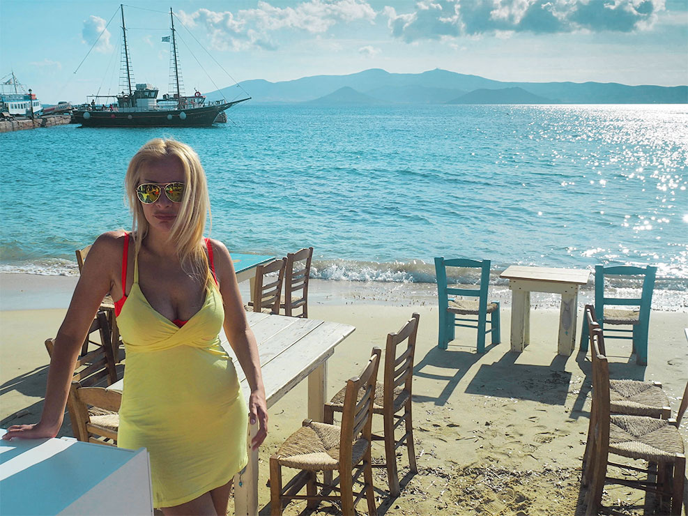 On Agia Anna beach in Naxos for vacation