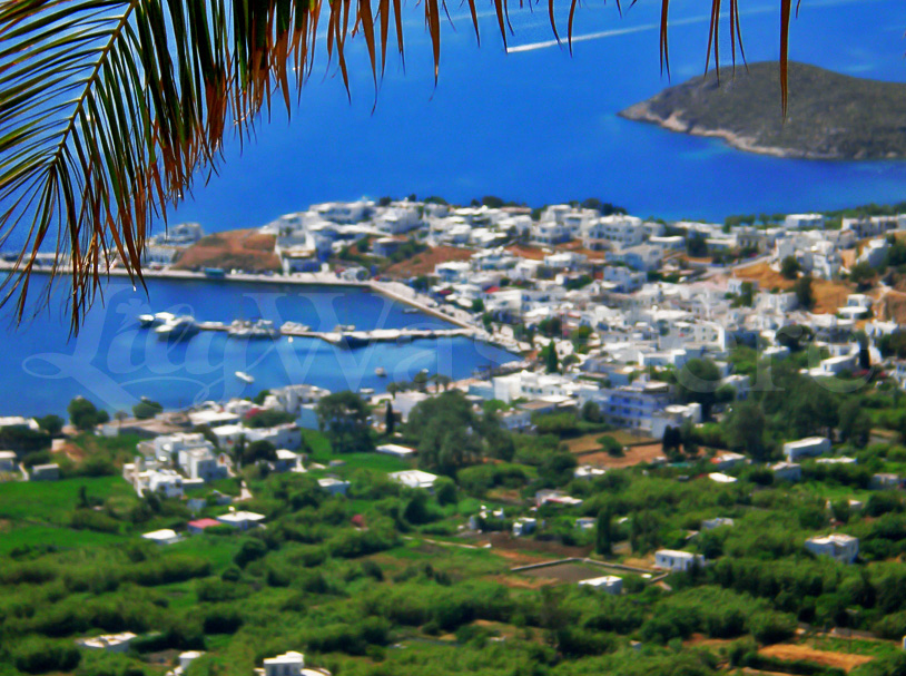 Livadi's port view from Serifos Chora Greece
