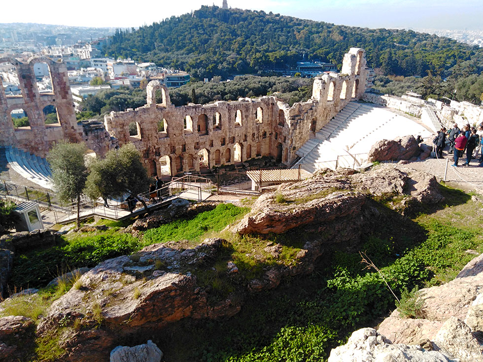 View of the Herodeion ancient theater from Acropolis hill