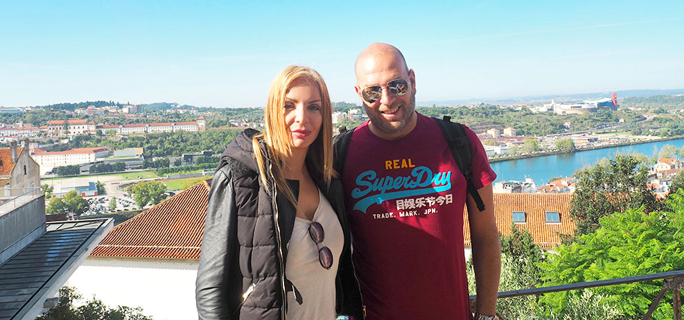 Couple travel to Coimbra Portugal